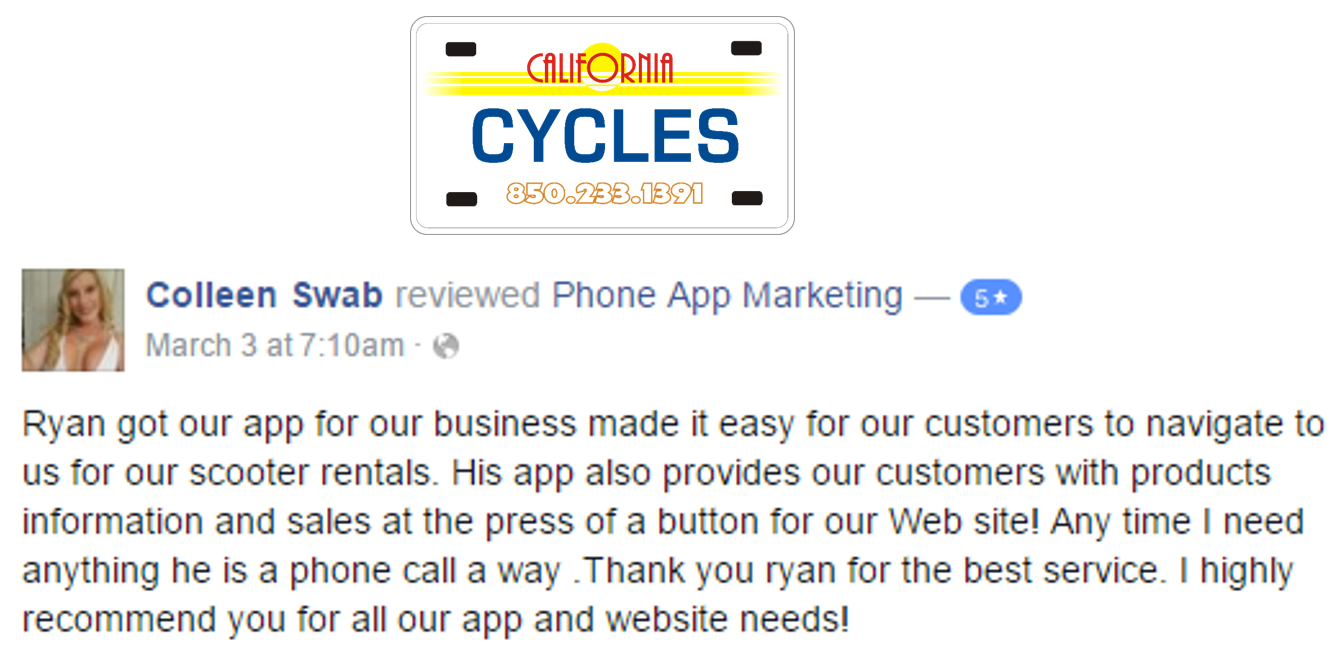 Phone App Marketing California Cycles